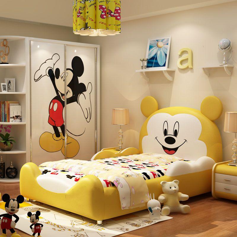 Giường hoạt hình chú chuột Micky dễ thương GTE032 màu vàng
