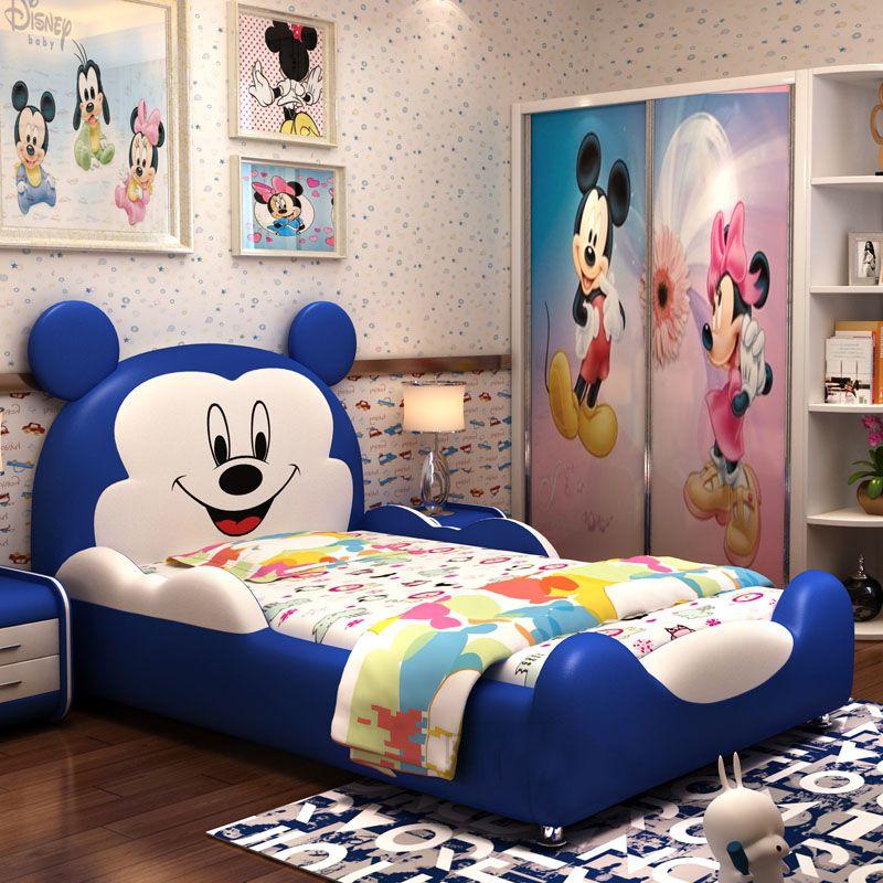 Giường hoạt hình chú chuột Micky dễ thương GTE032 màu xanh da trời