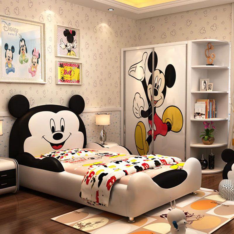 Giường hoạt hình chú chuột Micky dễ thương GTE032 màu trắng đen