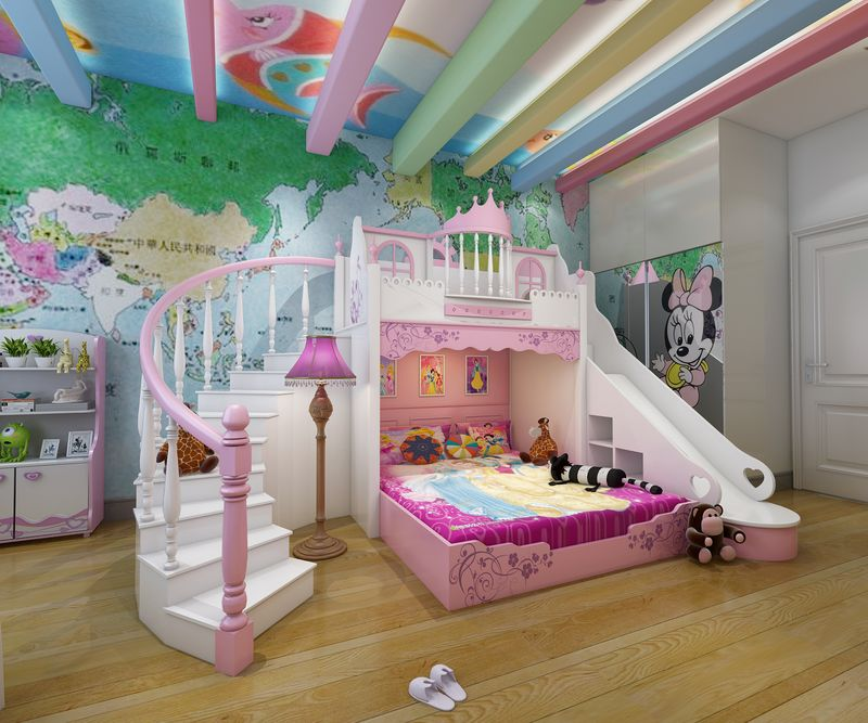 Giường tầng công chúa kiểu lâu đài đẹp GTE056