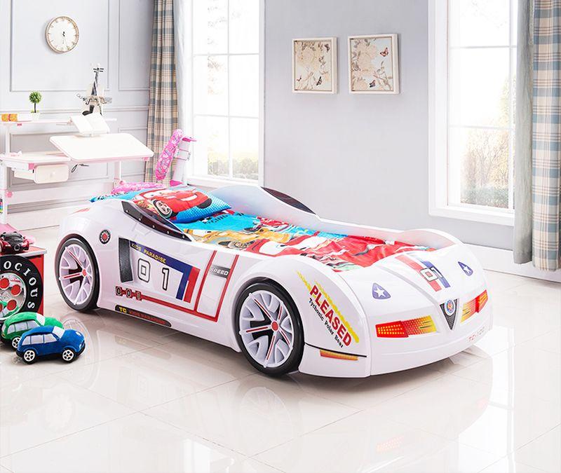 Giường cho bé hình ô tô đua Bujiadi 3D nhập khẩu GTE082 màu trắng