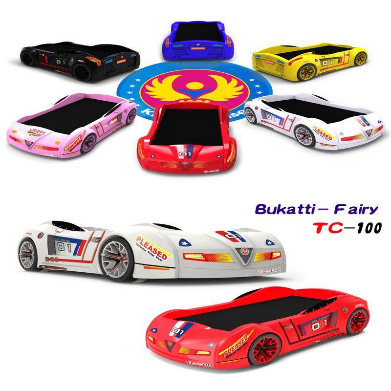 Giường cho bé hình ô tô đua Bujiadi 3D nhập khẩu GTE082 màu sắc vàng, xanh, hồng, trắng