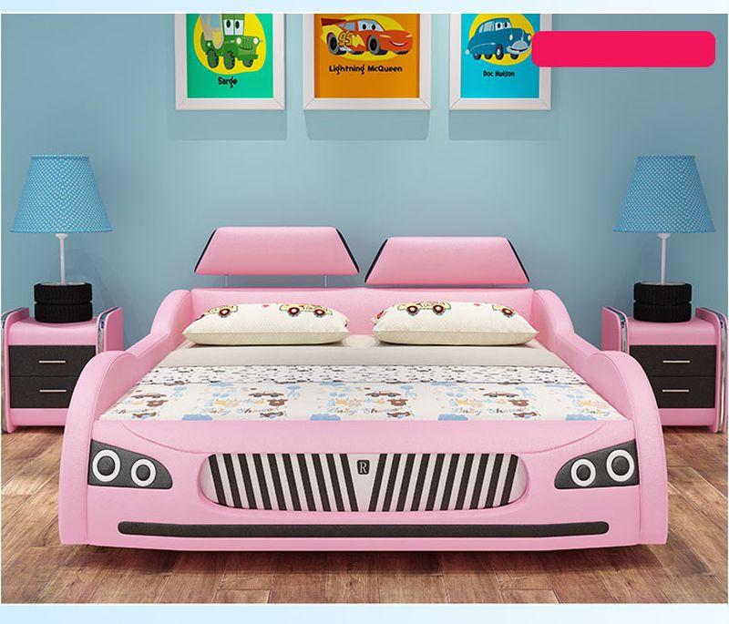 Giường trẻ em ô tô thể thao có ngăn gấp chứa đồ GTE036 màu hồng