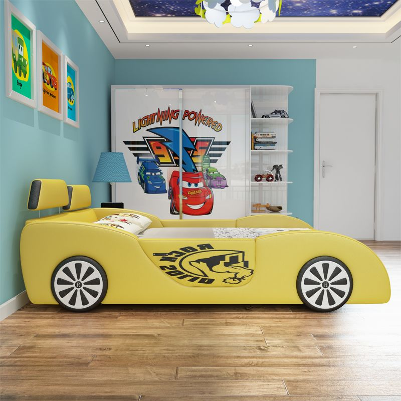 Giường trẻ em ô tô thể thao có ngăn gấp chứa đồ GTE036 màu vàng