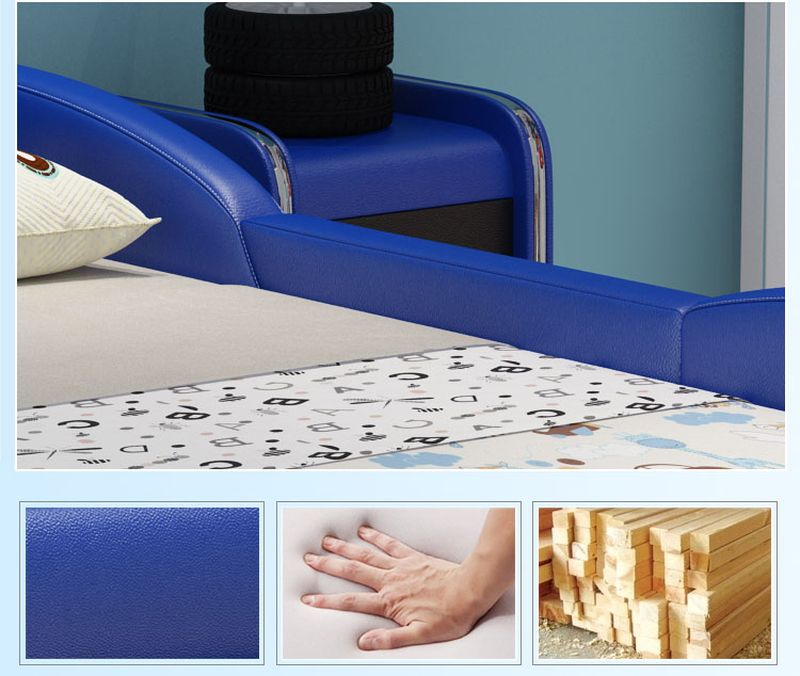 Giường trẻ em ô tô thể thao có ngăn gấp chứa đồ GTE036 màu xanh da trời 2