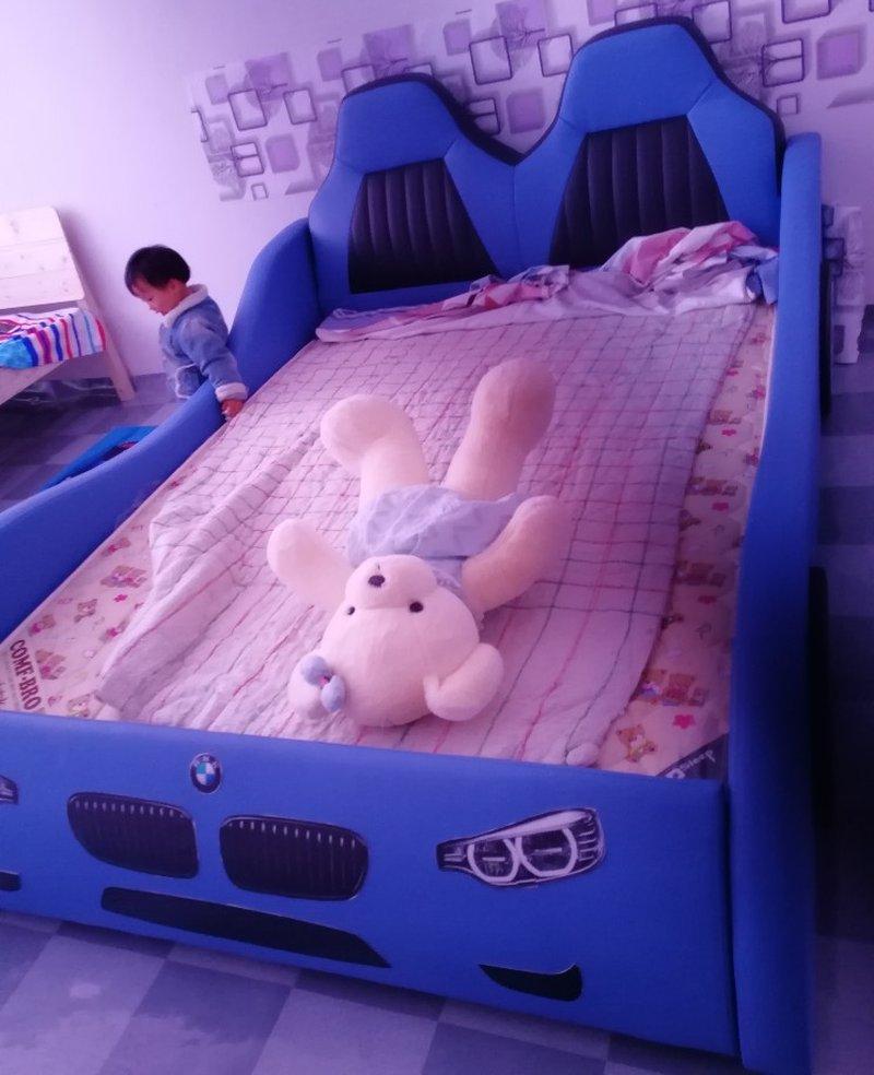 Giường ô tô cho bé trai đẹp nhập khẩu GTE079 màu xanh da trời