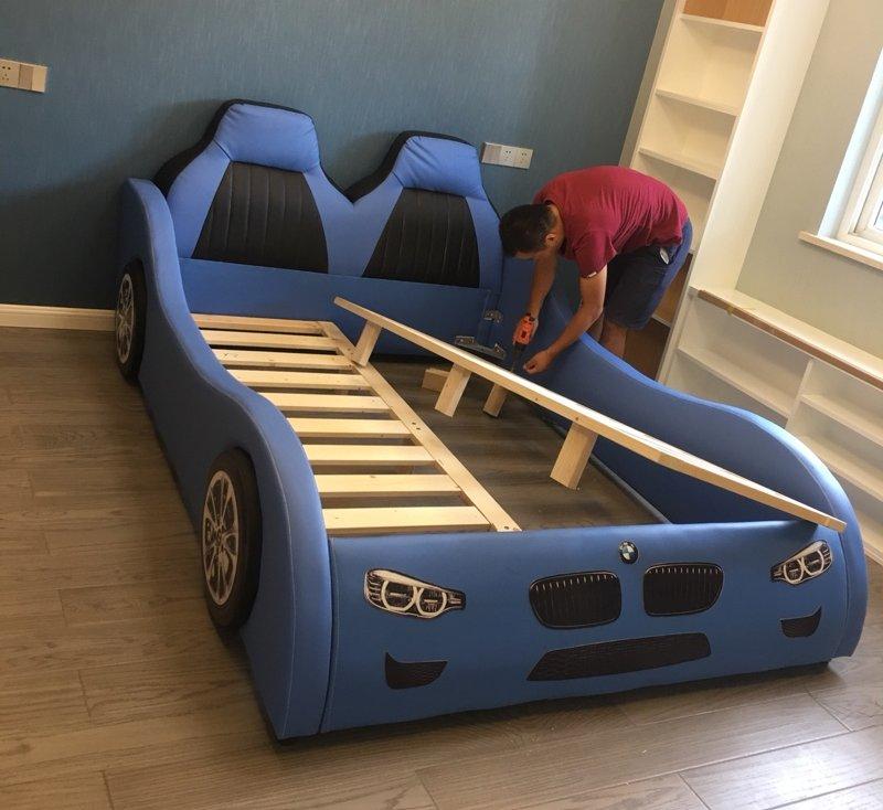 Giường ô tô cho bé trai đẹp nhập khẩu GTE079 màu xanh da trời 3