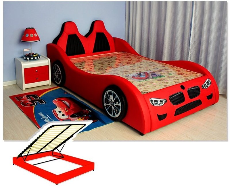 Giường ô tô cho bé trai đẹp nhập khẩu GTE079 màu đỏ dát giường mở