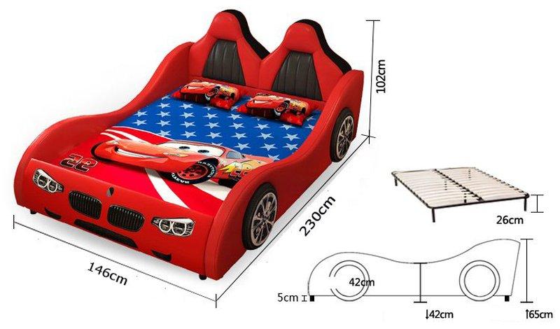 Kích cỡ Giường ô tô cho bé trai đẹp nhập khẩu GTE079 màu đỏ