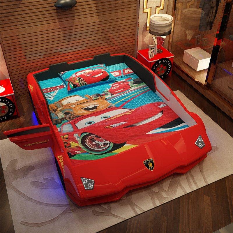 Giường ô tô thể thao 3D T6 Lamborghini GTE066 dòng cao cấp nhập khẩu màu đỏ
