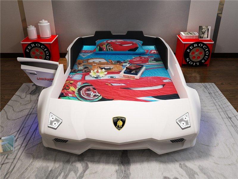 Giường ô tô thể thao 3D T6 Lamborghini GTE066 dòng cao cấp nhập khẩu màu trắng có cửa
