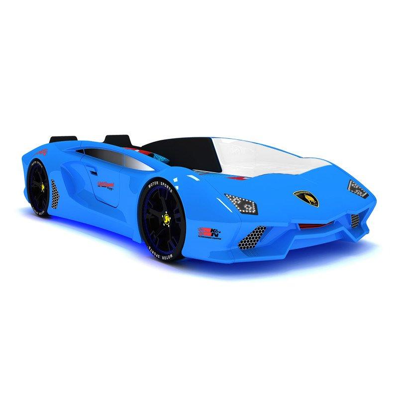 Giường ô tô thể thao 3D T6 Lamborghini GTE066 dòng cao cấp nhập khẩu màu xanh da trời