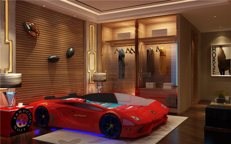 Nội thất trẻ em cao cấp giường thể thao GTE066 màu đỏ