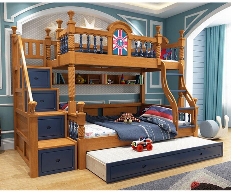 Giường tầng cao cấp trẻ em GTE053 màu nâu