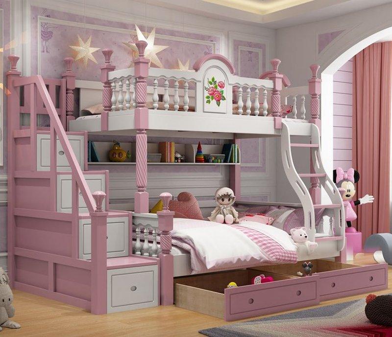 Giường tầng cao cấp trẻ em GTE053 màu hồng