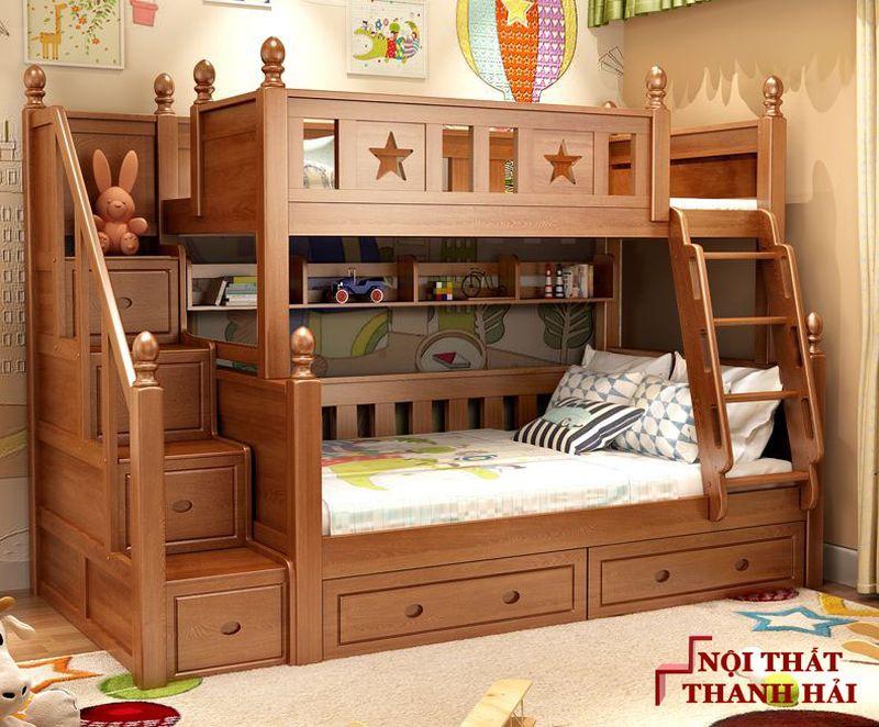 Giường tầng cho bé làm bằng gỗ sồi GTE049 1