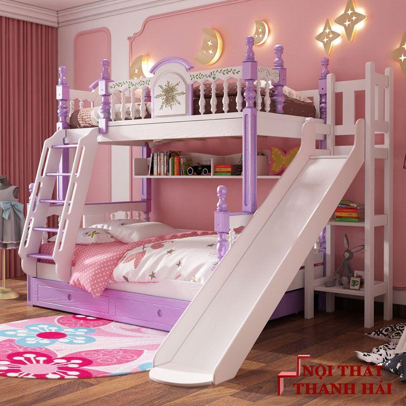 Giường tầng trẻ em kiểu công chúa đẹp GTE053 có cầu trượt