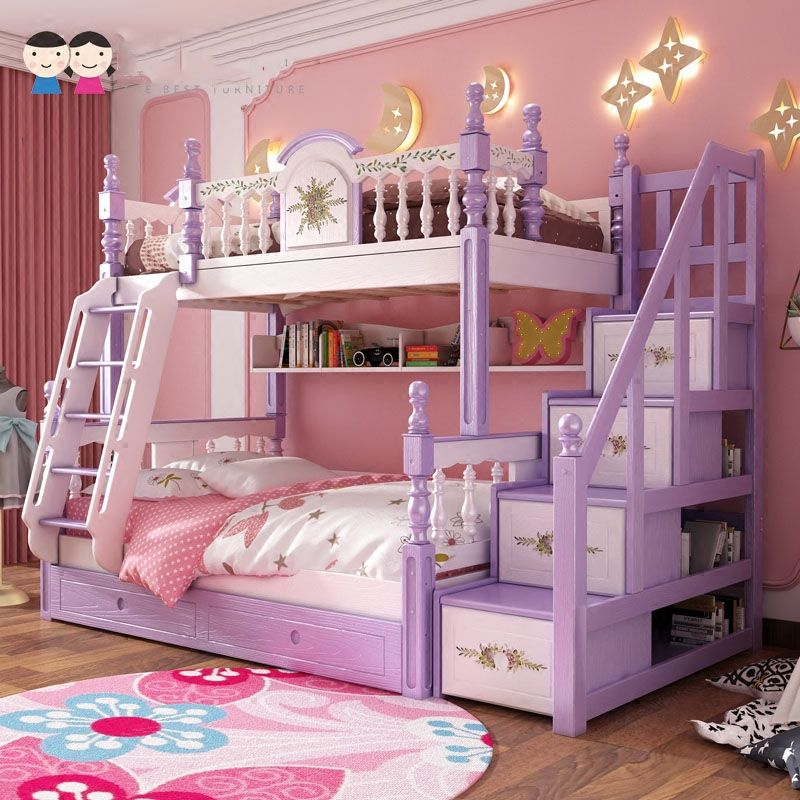 Giường tầng trẻ em kiểu công chúa đẹp GTE053 có cầu thang hộp