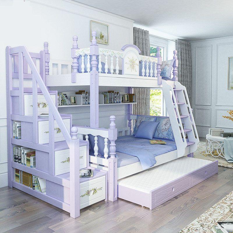 Giường tầng trẻ em kiểu công chúa đẹp GTE053 có cầu thang hộp màu xanh nước biển