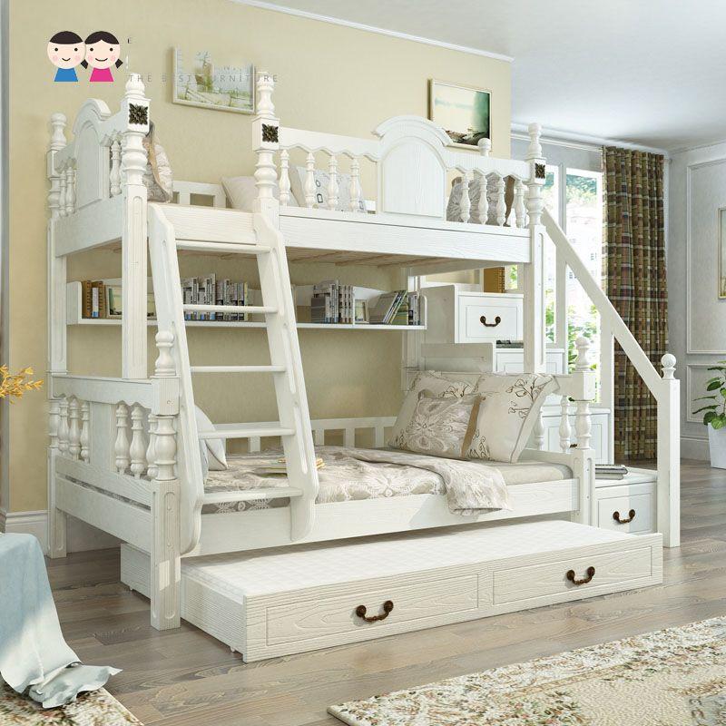 Giường tầng trẻ em kiểu công chúa đẹp GTE053 màu trắng