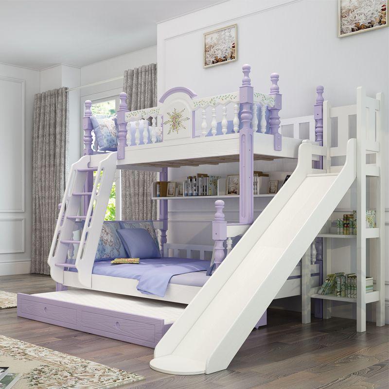 Giường tầng trẻ em kiểu công chúa đẹp GTE053 màu xanh nước biển có cầu thang trượt