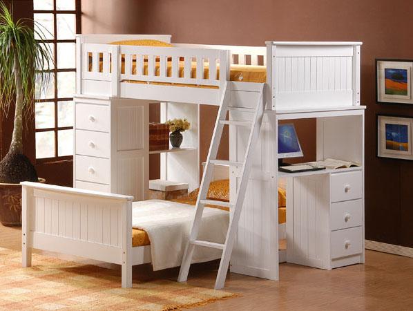 Giường 2 tầng có bàn học + giường ngủ Thiết kế đơn giản màu trắng tinh khôi