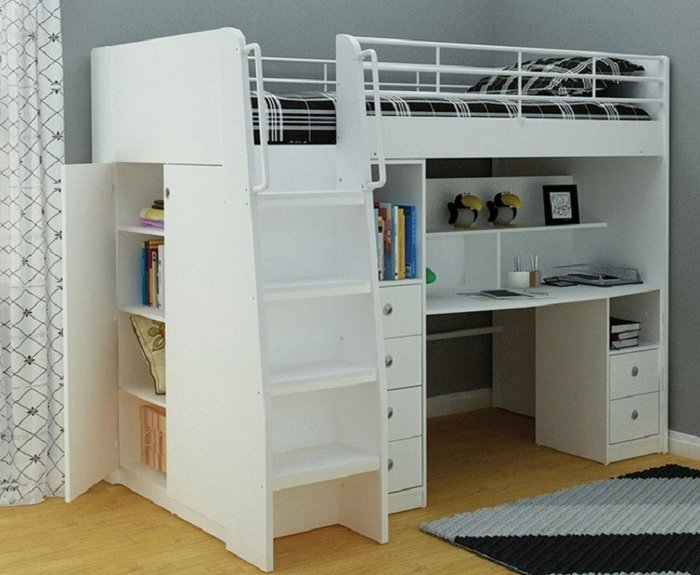 Giường tầng Thiết kế tận dụng diện tích, cầu thang dáng đứng, có kết hợp tủ quần áo + bàn học