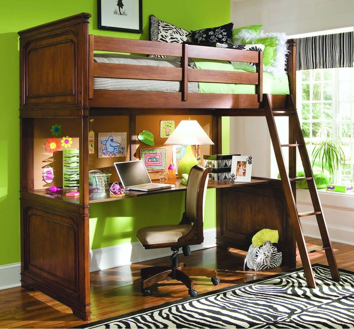 Giường tầng cầu thang đứng Đậm chất màu đổ tự nhiên không gian làm việc, học hành rộng rãi