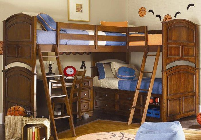 Giường tầng Thiết kế kiểu dáng chữ L tiện ích ngủ được nhiều người