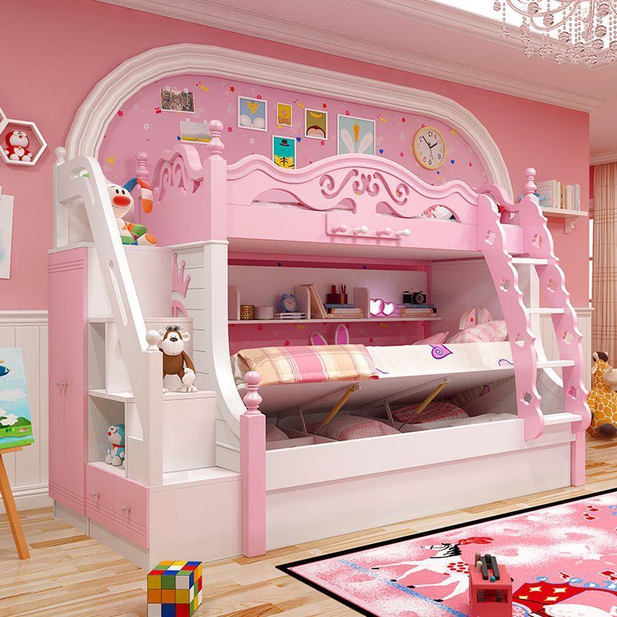 Giường tầng công chúa màu hồng có giường phụ
