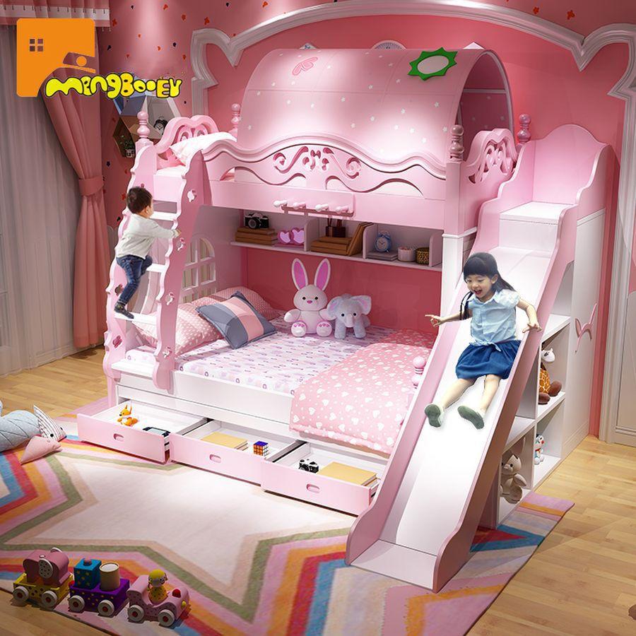 Giường tầng công chúa màu hồng có giường phụ và cầu trượt