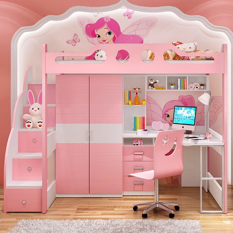 Giường tầng đa năng thông minh có tủ quần áo + bàn học GTE054 màu hồng