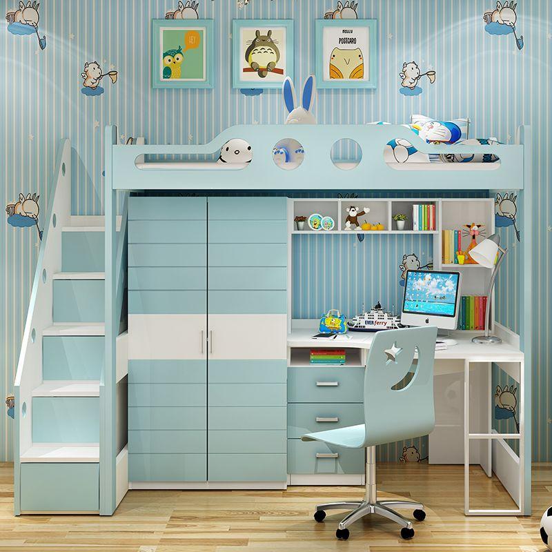 Giường tầng đa năng thông minh có tủ quần áo + bàn học GTE054 màu xanh dương