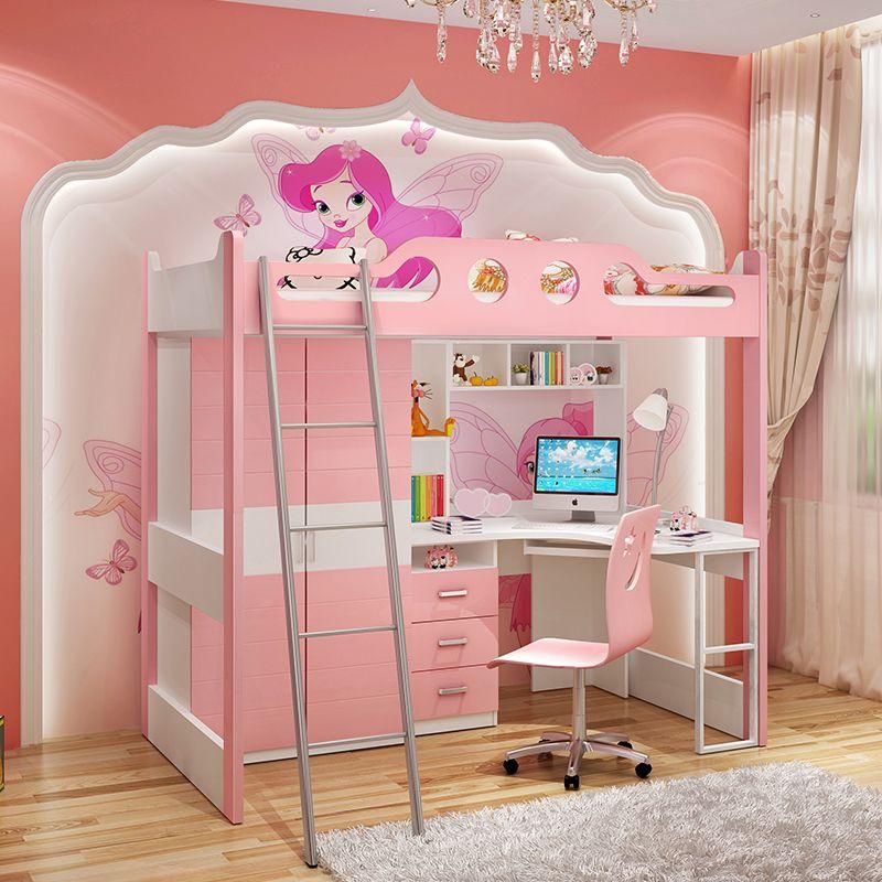 Giường tầng đa năng thông minh có tủ quần áo + bàn học GTE054 màu hồng 2