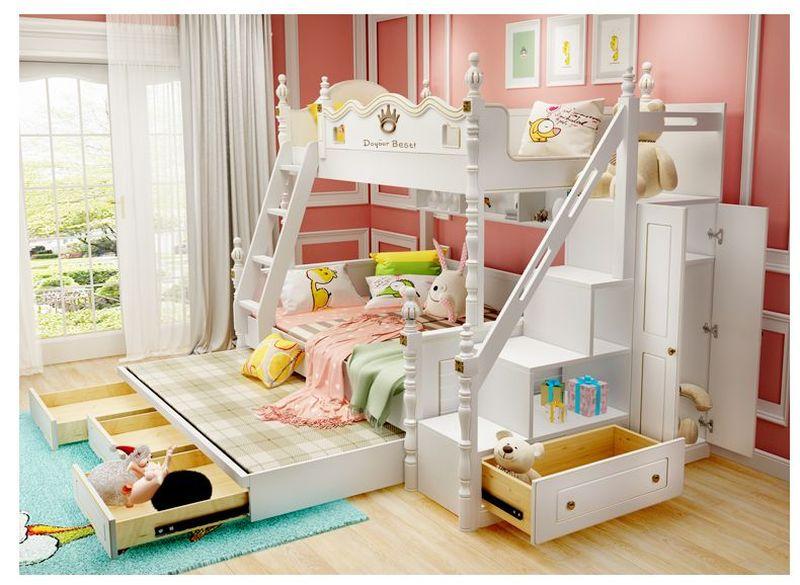 Giường 2 tầng bằng gỗ tự nhiên đa năng thông minh châu âu GTE080 1