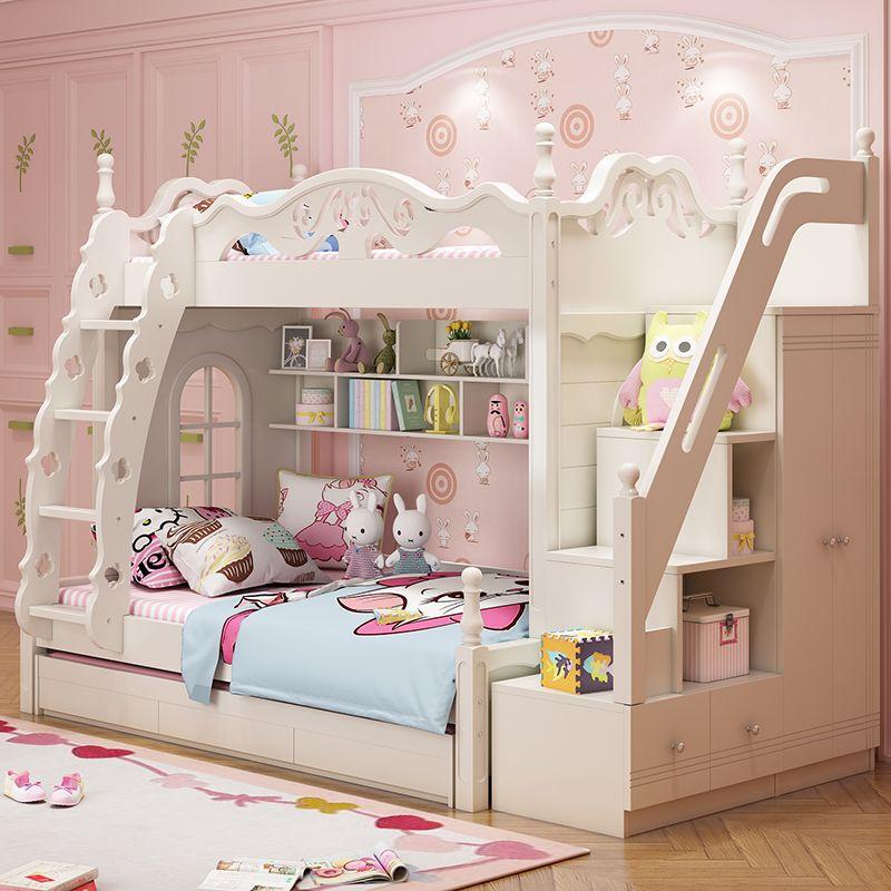 Giường tầng đa năng thông minh kiểu công chúa dành cho bé gái GTE047 màu trắng
