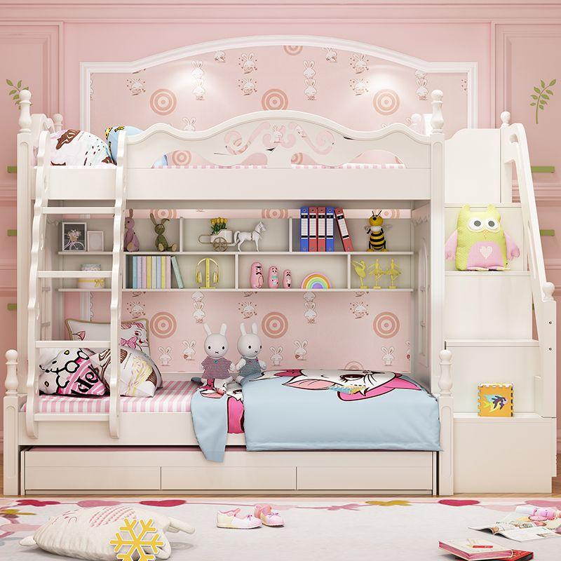 Giường tầng đa năng thông minh kiểu công chúa dành cho bé gái GTE047 màu trắng 2