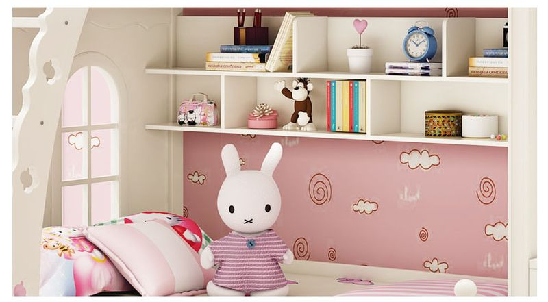 Giường tầng đa năng thông minh kiểu công chúa dành cho bé gái GTE047 màu trắng 3