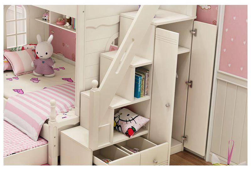 Giường tầng đa năng thông minh kiểu công chúa dành cho bé gái GTE047 màu trắng 4