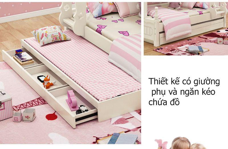 Giường tầng đa năng thông minh kiểu công chúa dành cho bé gái GTE047 màu trắng 5