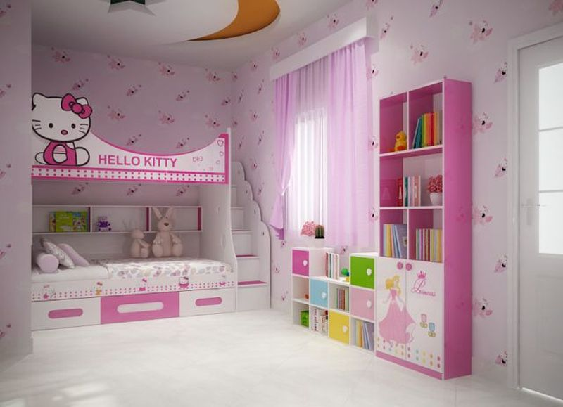 Giường tầng hello kitty cho bé gái GTE061 1
