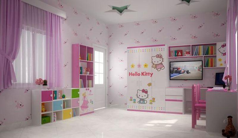 Giường tầng hello kitty cho bé gái GTE061 2