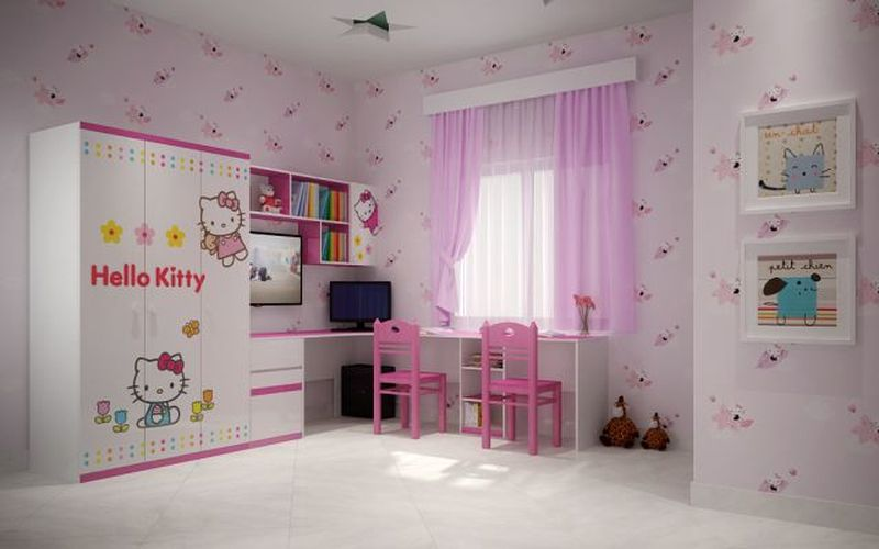 Giường tầng hello kitty cho bé gái GTE061 3