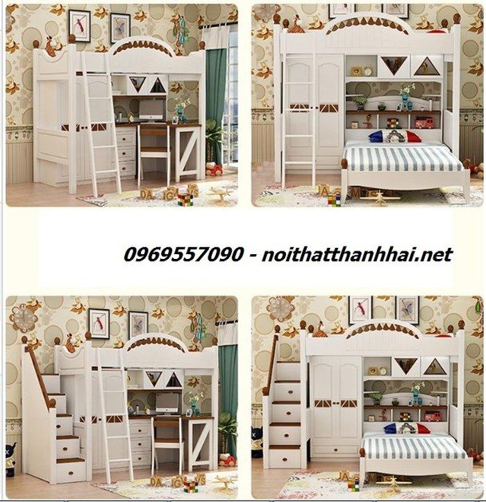 Mẫu giường tầng kết hợp tủ quần áo độc đáo