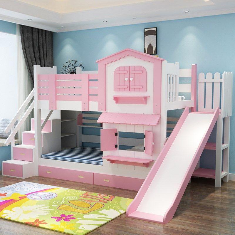 Giường tầng kiểu ngôi nhà có cầu trượt GTE052 màu hồng