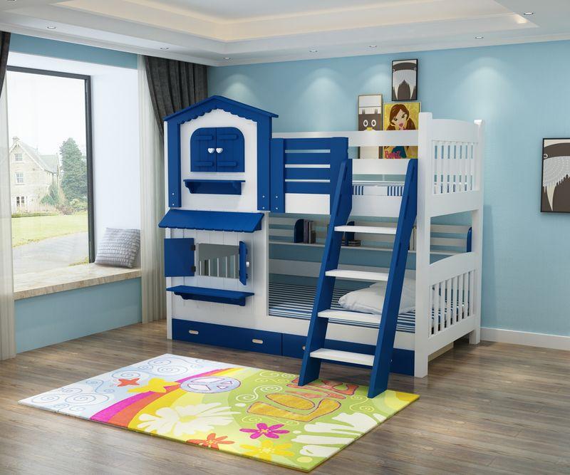 Giường tầng kiểu ngôi nhà có cầu trượt GTE052 màu xanh da trời 9