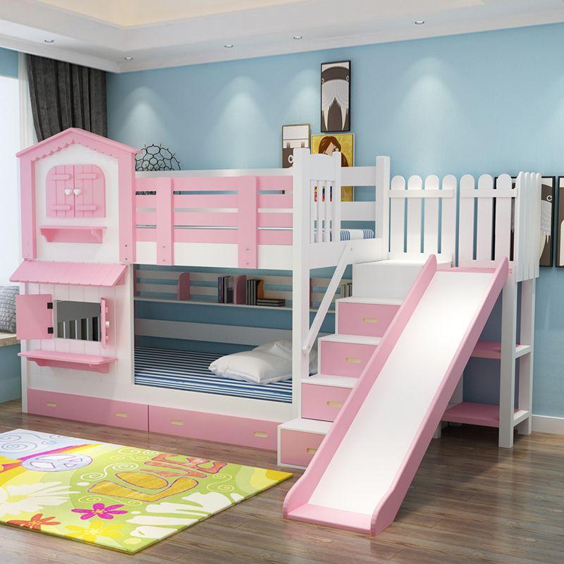 Giường tầng kiểu ngôi nhà có cầu trượt GTE052 màu hồng 2