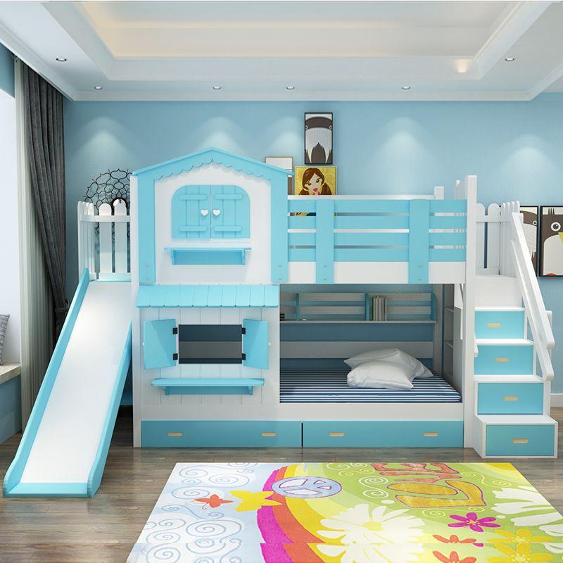 Giường tầng kiểu ngôi nhà có cầu trượt GTE052 màu dương