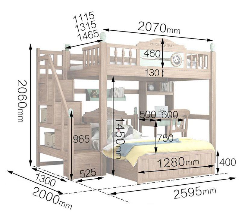 Kích thước Giường tầng thông minh cho bé + bàn học GTE071 2