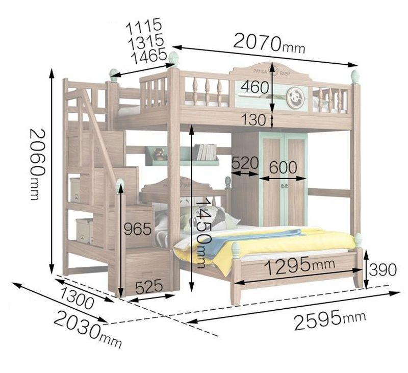 Kích thước Giường tầng thông minh cho bé + tủ quấn áo GTE071 2